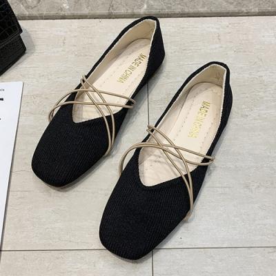 KEITH-WILL時尚鞋館 年度精選大氣歐美風格布面方頭平底鞋-黑