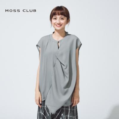 【MOSS CLUB】立體裁剪不對襯扭結設計短袖-上衣(三色)