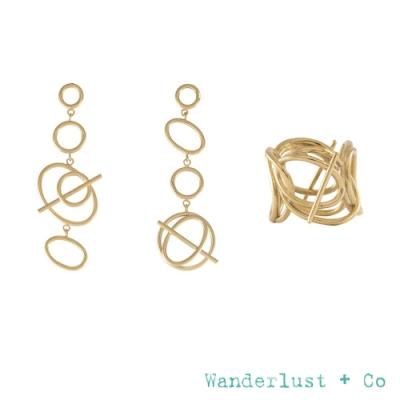 Wanderlust+Co 官方精緻禮盒 幾何圓圈星軌鍍18K金耳環+層次星軌金戒指