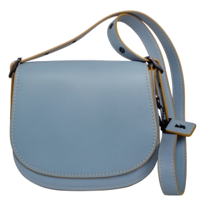 COACH SADDLE BAG 23水藍復古全皮斜背馬鞍包