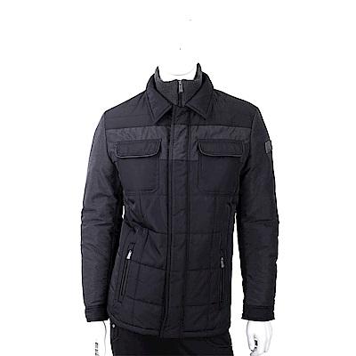 TRUSSARDI 多口袋黑色絎縫立領科技棉防水夾克