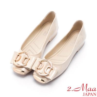 2.Maa 蝴蝶結飾扣小牛皮平底娃娃鞋 - 米