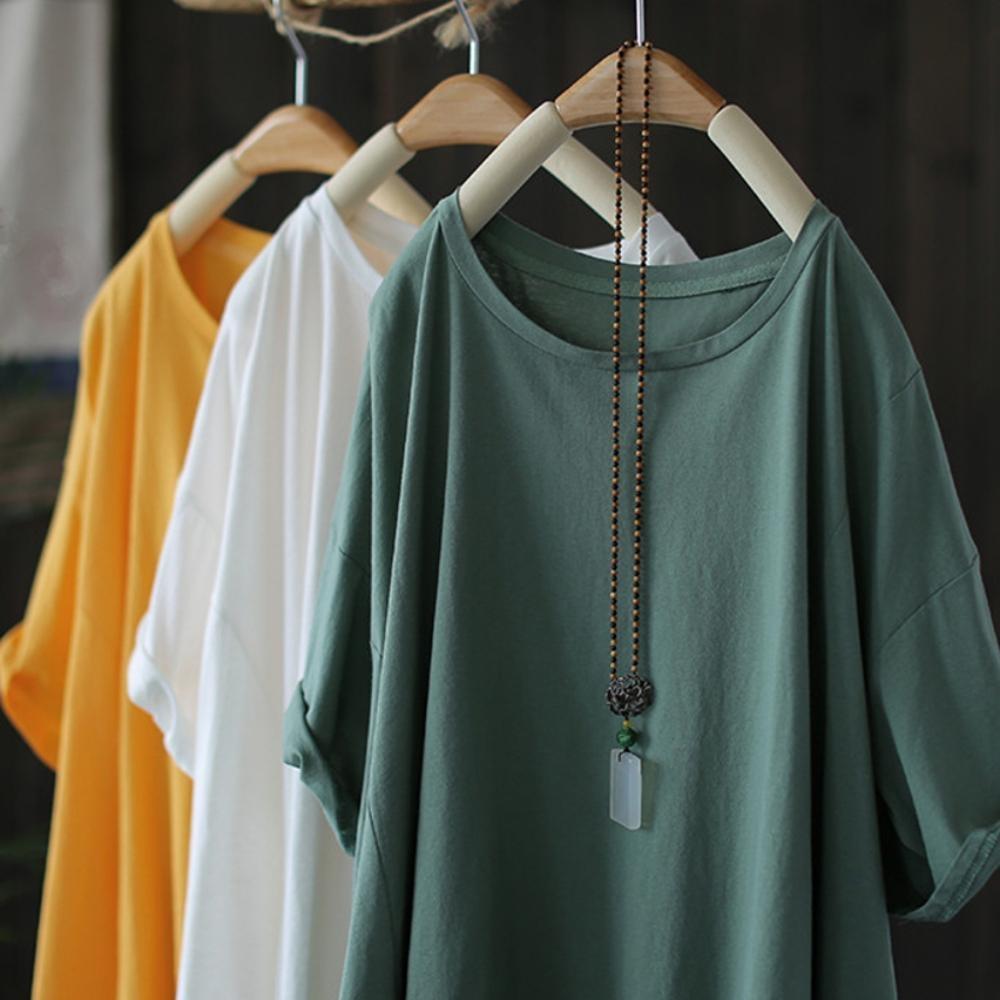 寬鬆不規則中袖棉柔T恤休閒罩衫上衣-設計所在