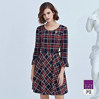 ILEY伊蕾 英倫織蔥彈性格紋洋裝(紅)