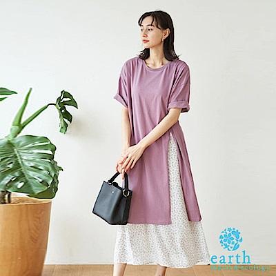 earth music 【SET ITEM】長版圓領落肩T恤+碎花長裙