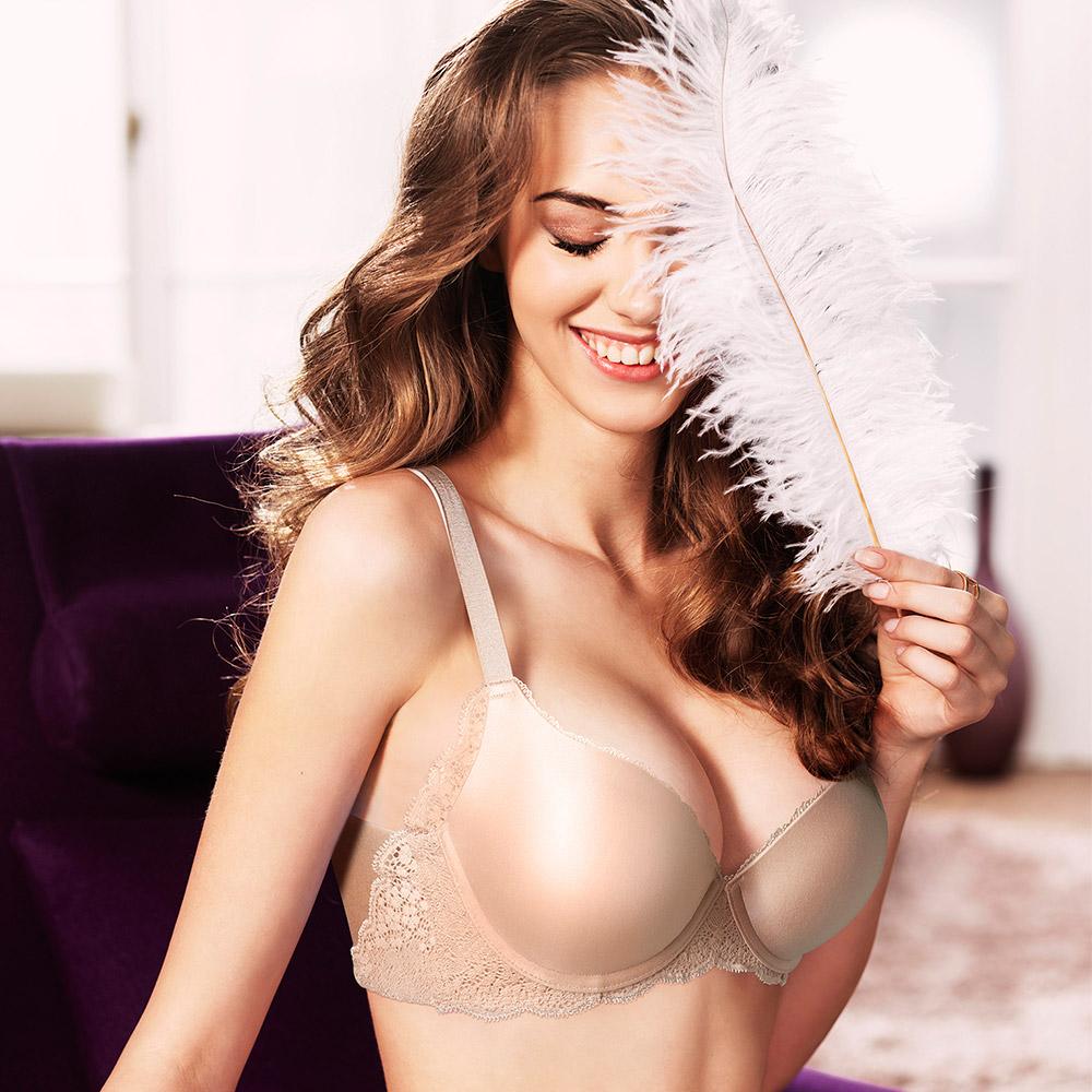 黛安芬-超彈舒柔美背 D-E罩杯內衣(嫩裸肌)