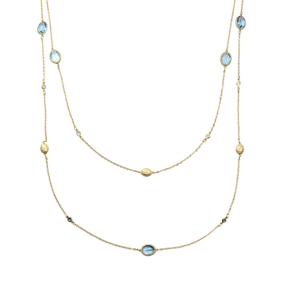 SWAROVSKI 施華洛世奇 GRASS STRANDAGE璀璨藍水晶金色長項鍊