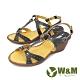 W&M(女) 優雅繞踝坡跟厚底彈力涼鞋 女鞋 -藍 (另有紅) product thumbnail 1