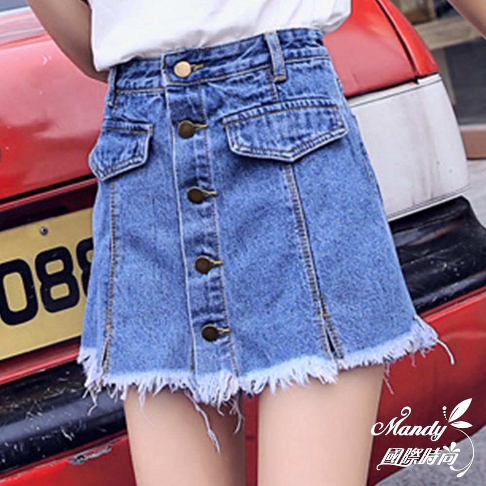 Mandy國際時尚 高腰顯瘦寬鬆A字一排扣闊腿熱褲裙