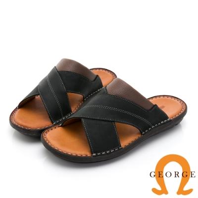 GEORGE 喬治皮鞋 舒適系列 真皮手縫厚底氣墊拖鞋-黑
