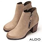 ALDO 原色真皮靴面拉鍊式木紋粗跟尖頭高跟短靴~典雅灰色