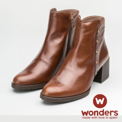 WONDERS-側鉚釘低跟踝靴 咖