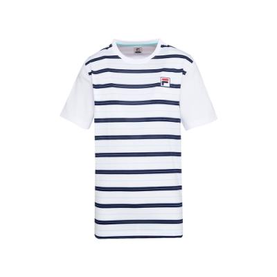 FILA 男短袖圓領T恤-白色 1TEU-5010-WT