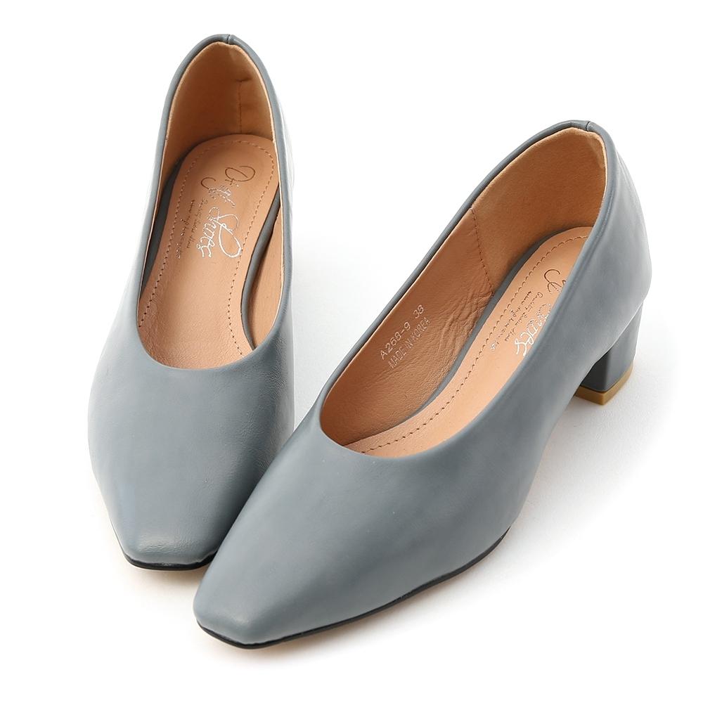 D+AF 早秋序曲.素面微尖頭中跟鞋*藍