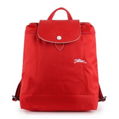 LONGCHAMP Le Pliage Club尼龍摺疊後背包(紅色/白色)