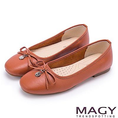 MAGY 清新女孩 百搭細帶蝴蝶結牛皮娃娃鞋-橘色