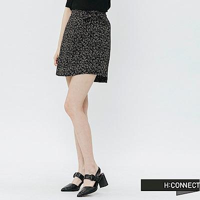 H:CONNECT 韓國品牌 女裝-滿版圖樣綁結褲裙-黑