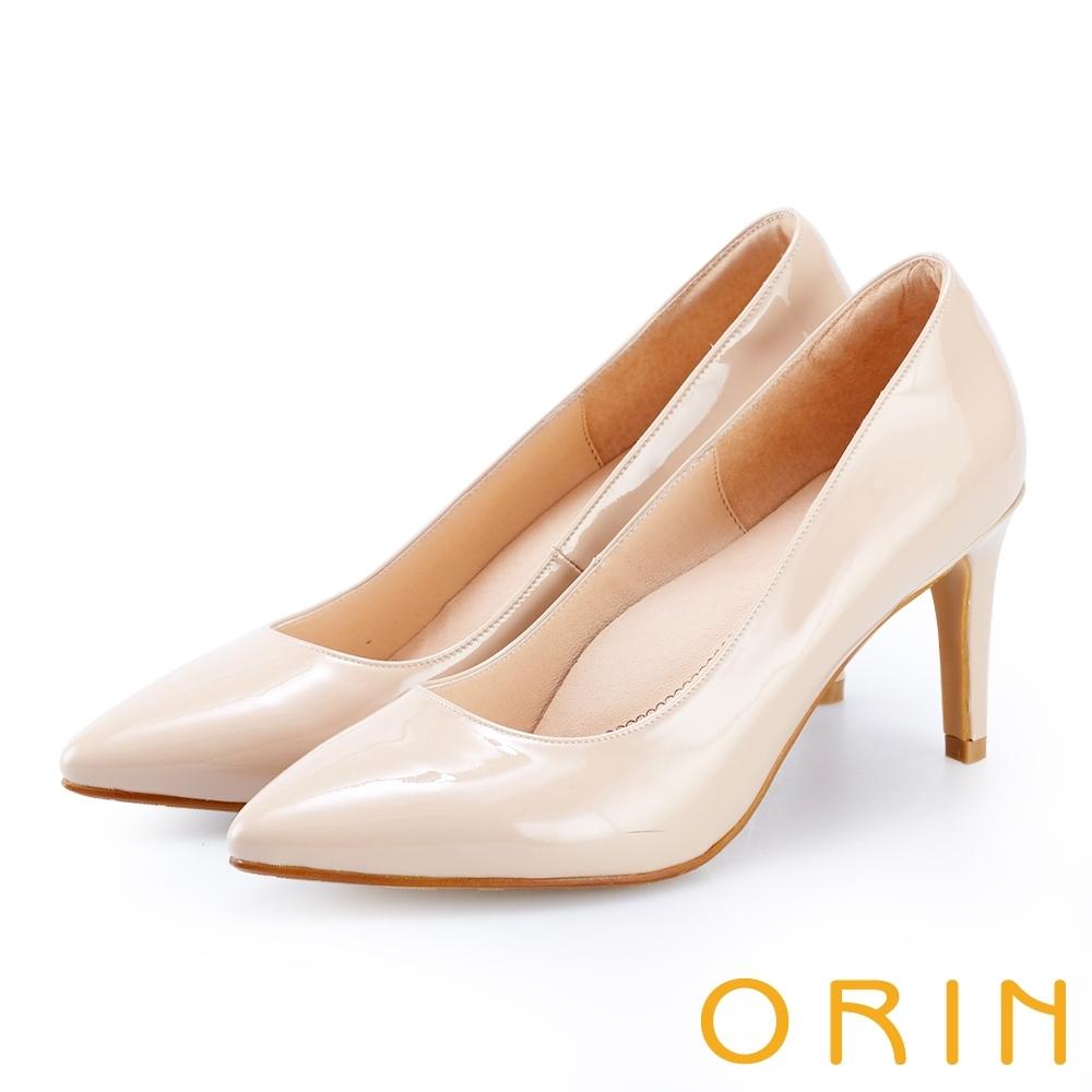 ORIN 氣質素面真皮尖頭高跟鞋 裸色