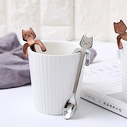E-dot 304不鏽鋼杯緣子貓咪手柄攪拌匙(二色任選)