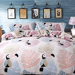 Grace Life 鸚鵡之家 單人法蘭絨被套床包三件組