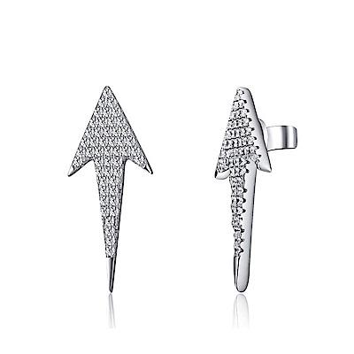 米蘭精品 925純銀耳環-鑲鑽箭頭耳環