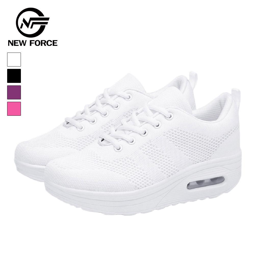 NEW FORCE 動感飛織防滑氣墊健走鞋-白色