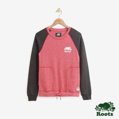 ROOTS女裝 口袋抽繩長袖T恤 -紅
