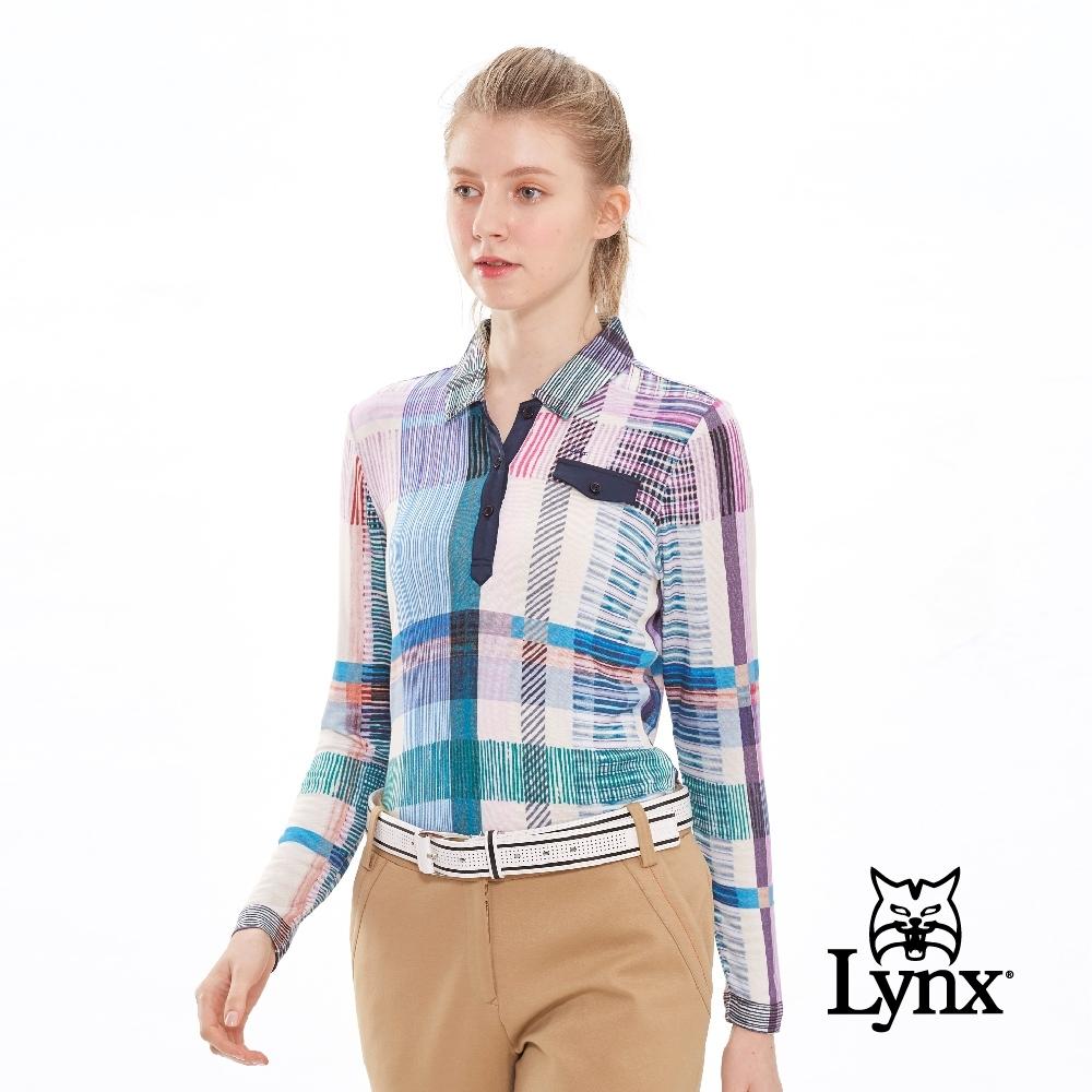 【Lynx Golf】女款義大利進口幾何線條長袖POLO衫-牙白色