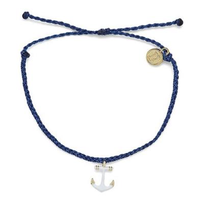 Pura Vida 美國手工 Anchors Away白色船錨 深藍色蠟線衝浪手鍊手環