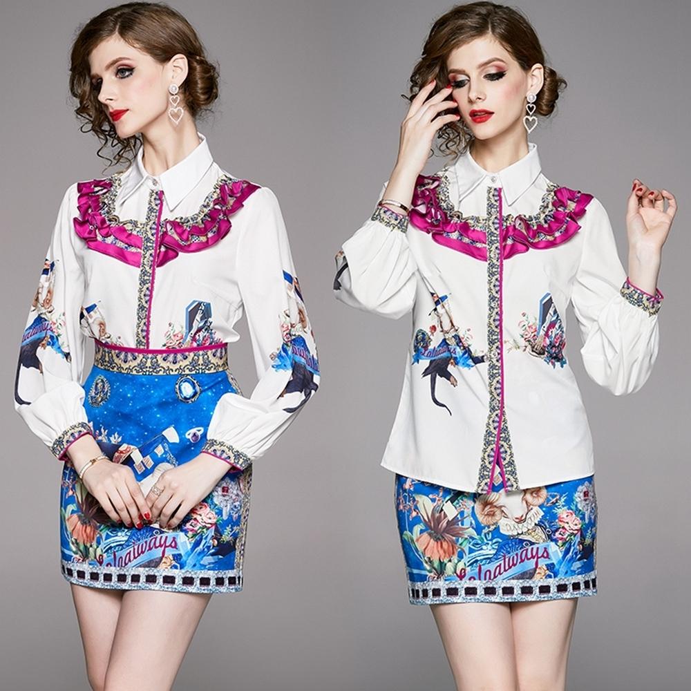 異國時尚花瓣拼接上身印花+收腰短裙M-2XL-M2M