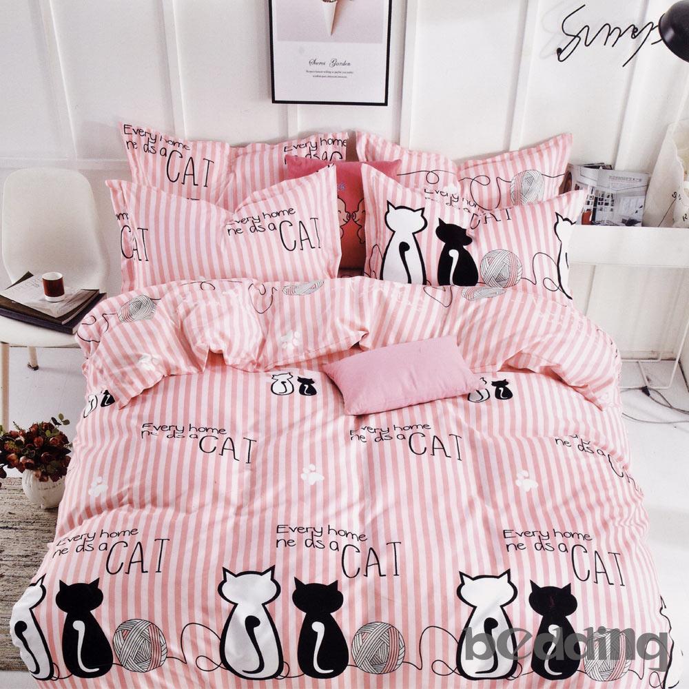 BEDDING-活性印染5尺雙人薄床包三件組-貓咪凱特