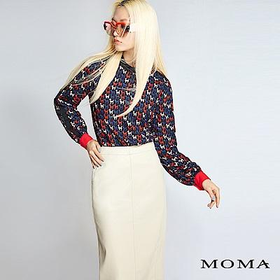 MOMA 純色人造皮裙