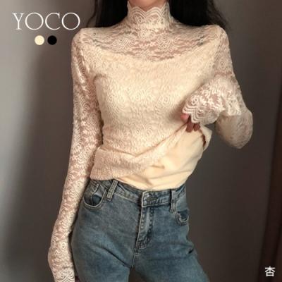 東京著衣-YOCO 韓版內搭高領蕾絲雕花透膚加絨上衣