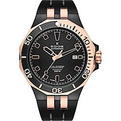 EDOX Delfin 水上冠軍專業300 防水機械錶-黑x玫塊金框/43mm
