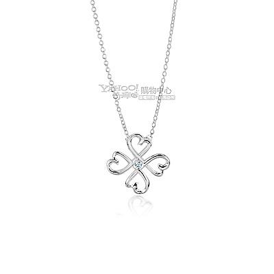 Tiffany&Co.愛情幸運心鑲鑽石925純銀項鍊