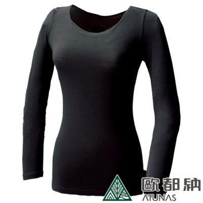 【ATUNAS 歐都納】女款熱流感長袖內著衣/發熱衣/零碼出清A-U1215W黑