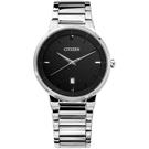 CITIZEN 星辰表 日期日本機芯礦石強化玻璃不鏽鋼手錶-黑色/39mm