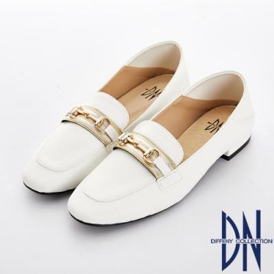 DN 好感輕著 質感金屬樂福休閒鞋-白
