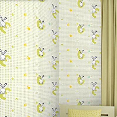 半島良品 防水PVC自黏牆紙45x200cm-綠格兔子