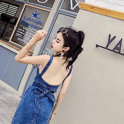 DABI 韓國風時尚單排扣露背蝴蝶結綁帶牛仔吊帶無袖洋裝
