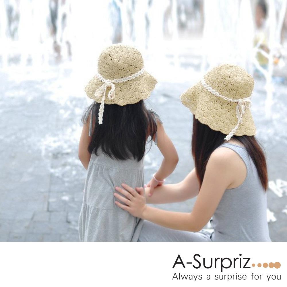 A-Surpriz 透氣麻編蝴蝶結親子草帽(米)