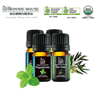 Bonnie House 雙有機認證 薄荷精油5ml*2+茶樹精油*2