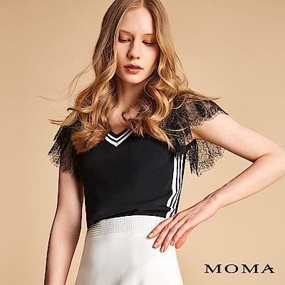 MOMA V領針織蕾絲袖上衣