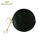 【BAGGLY&CO】精品質感皮革拉鍊圓形零錢包(黑色)
