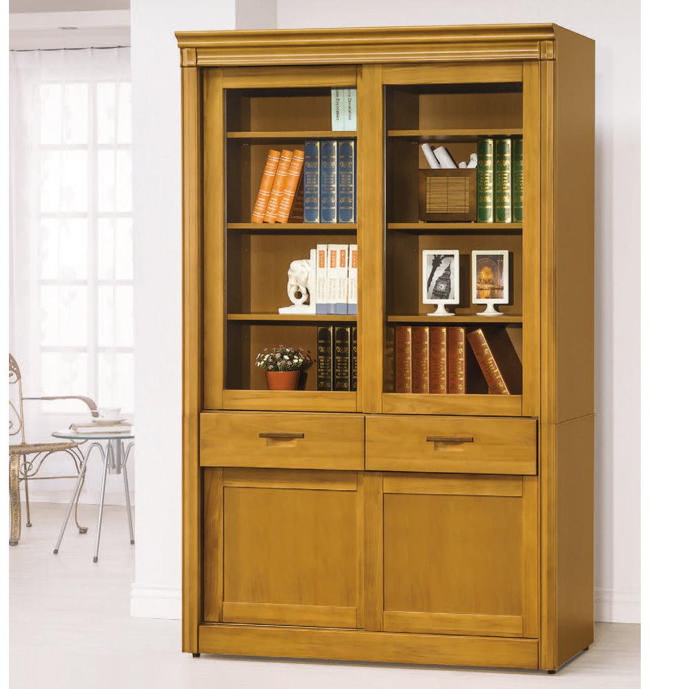 MUNA艾拉香檜4尺中抽推門書櫃  121.8X44.5X195.5cm