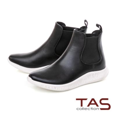 TAS素面切爾西短筒雨靴-素面黑