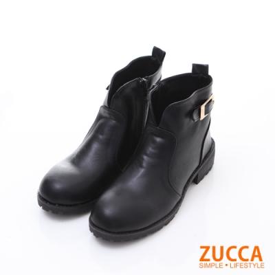 ZUCCA 金屬扣環皮革低跟踝靴-黑色-z6221bk