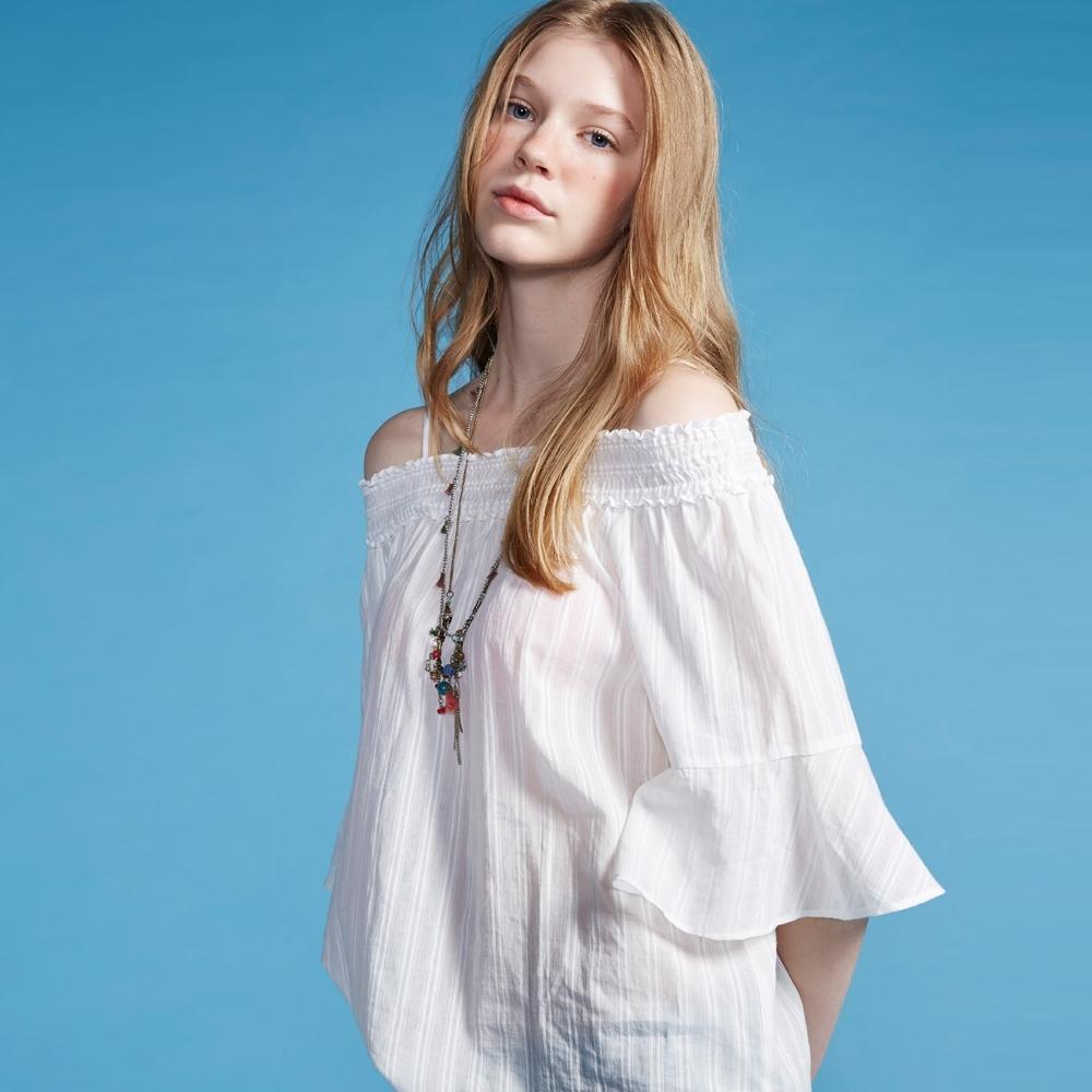 ET BOîTE  BLUE WAY –一字領條紋喇叭袖襯衫(白)