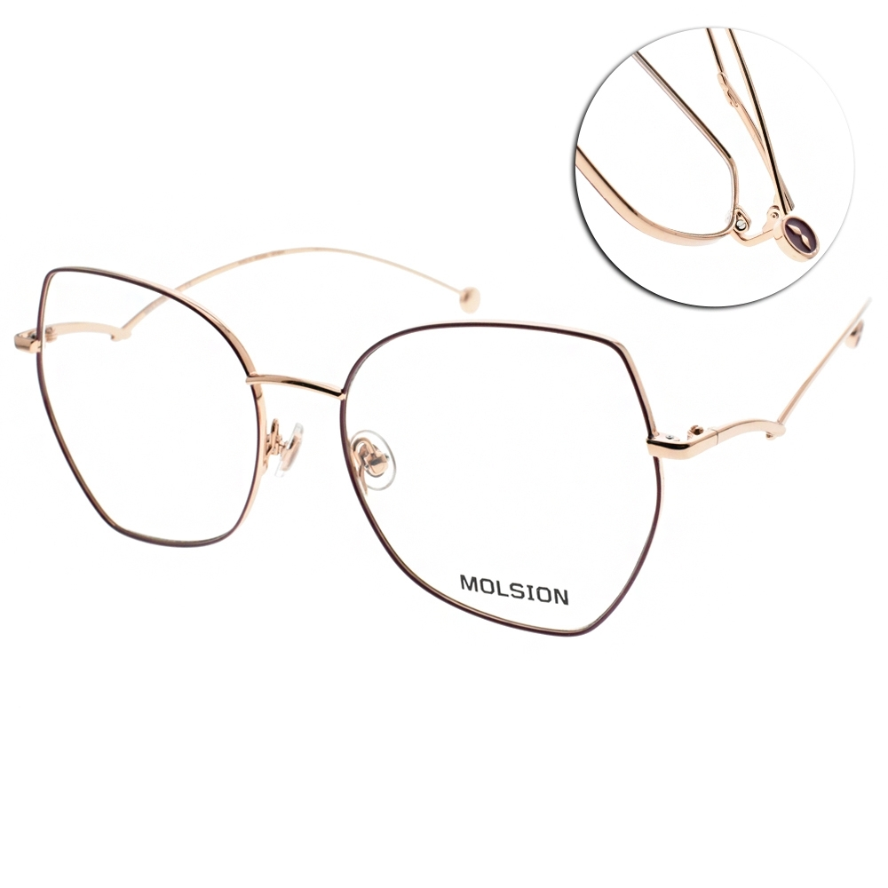 MOLSION 光學眼鏡 Angelababy代言 多邊細框款/紫-玫瑰金#MJ7107 B31