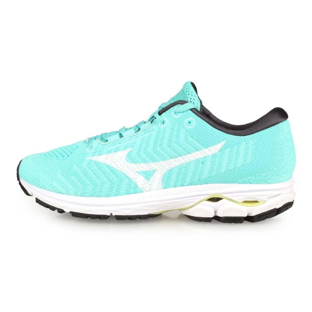 MIZUNO 女慢跑鞋 WIDE WAVEKNIT 3 湖水綠白